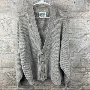 VTG Ribbed Wool Grandpa Button Cardigan Sweater